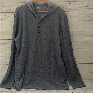 Men's gap hooded long sleeve blue/grey